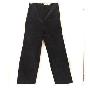 Navy Corduroy Wide Leg Crop Pants.